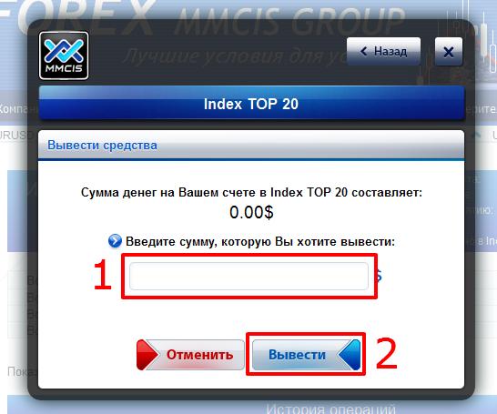Вывод средства со счета Index TOP 20 на лицевой (основной) счет Forex MMCIS