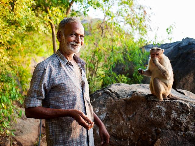 индус кормит обезьнку в Тируванамалаи