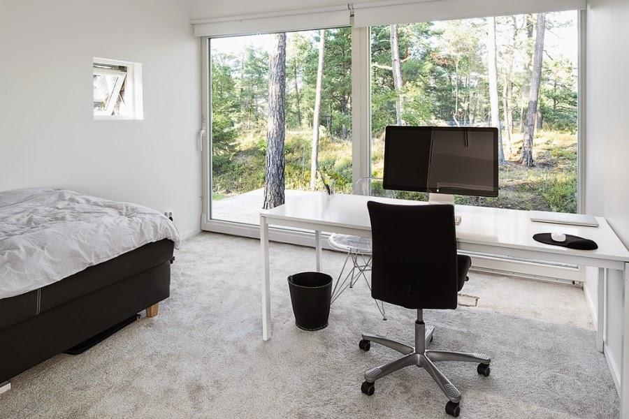 wystrój wnętrz, wnętrza, home decor, styl nowoczesny, nowoczesne wnętrza, białe wnętrza, sypialnia, biurko