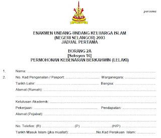 Borang Nikah Selangor Lelaki 2a Umpama A
