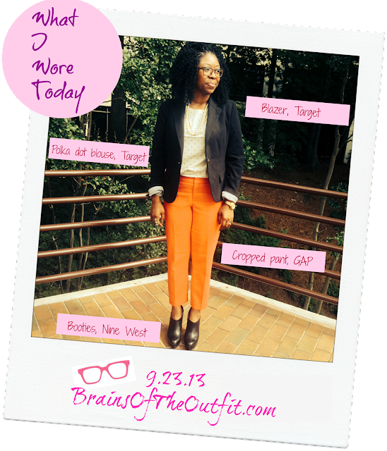 nine west, gap, target, polka dot, black blazer, what I wore today, brains of the outfit, outfit of the day
