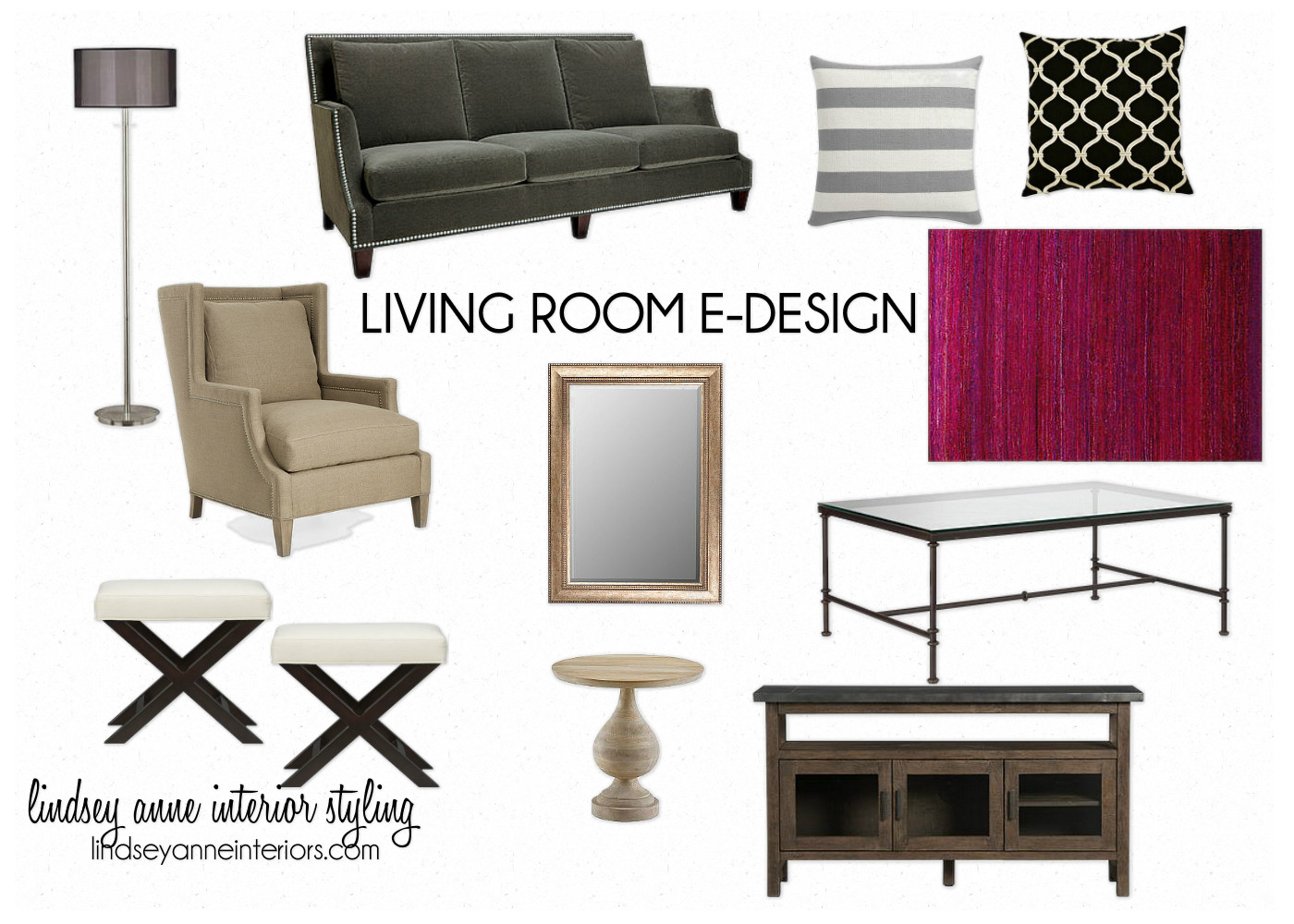 Pinklet and c living room e design board for E design living room