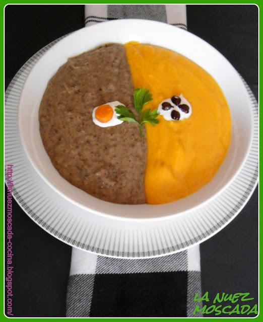 vellutata bicolore di ceci neri e zucca - crema bicolor de garbanzos negros y calabaza