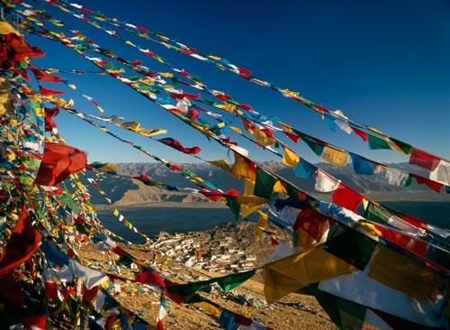 Temple bouddhiste au Tibet.