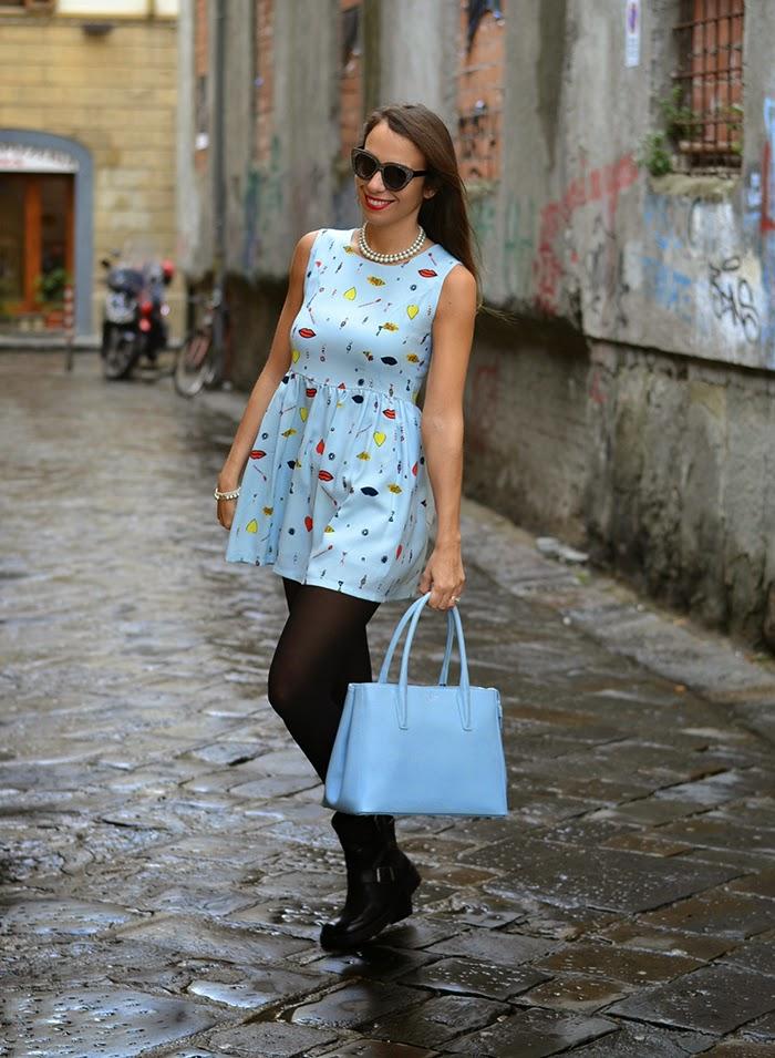 mini abito azzurro