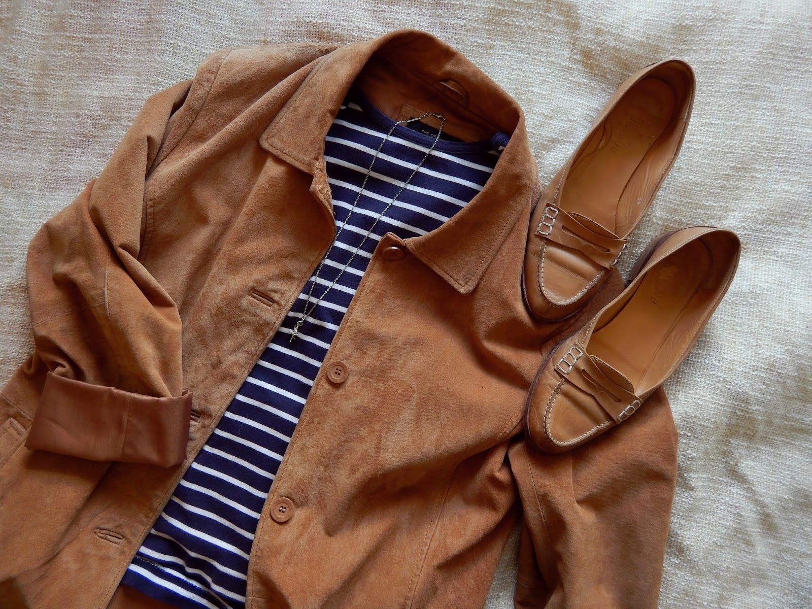 Suede Jacket Stripes Loafers