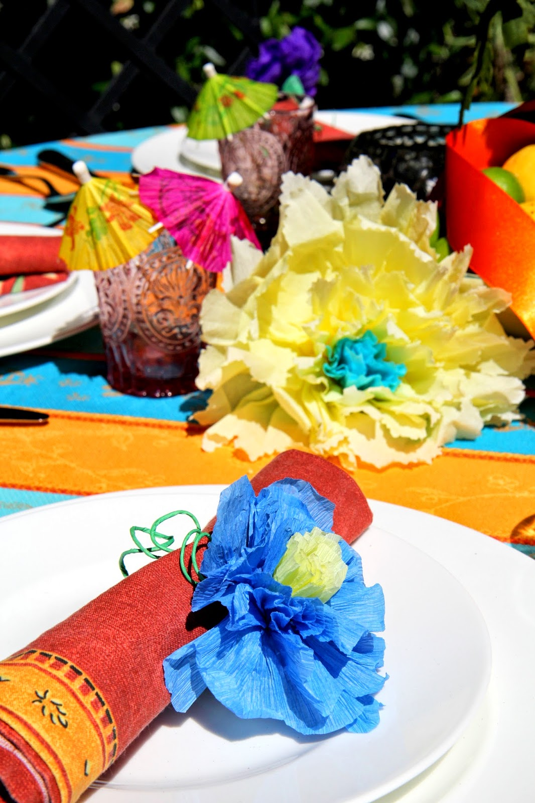 Colorful Place Setting for a Backyard Party; Cinco de Mayo Celebration -- Nora's Nest