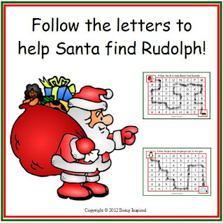 Letter identification worksheet freebie - help Santa find Rudolph!