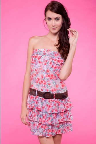 PINK FLORAL PRINT STRAPLESS DRESS