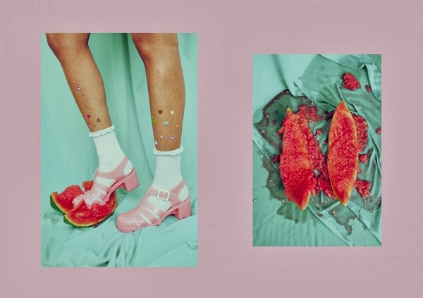 watermelon, juju, juju jellies, jellies, jelly sandals, pink, rookie, rookie mag, arvida bystrom, art, photoraphy