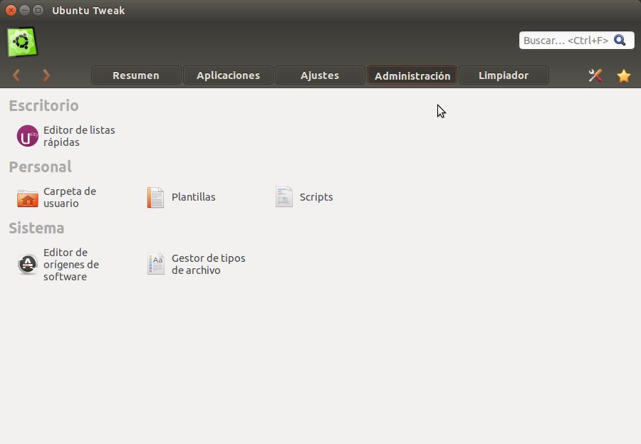 Ubuntu Tweak Administracion