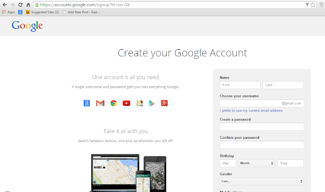 Blogger account login page with the google account.