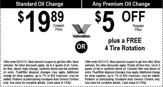 Goodyear Oil Change Coupon Goodyear Oil Change Coupon 2012