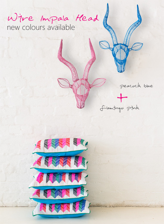 Safari Fusion blog | Peacock Blue & Flamingo Pink African wire Impala trophy heads for the wall by Safari Fusion
