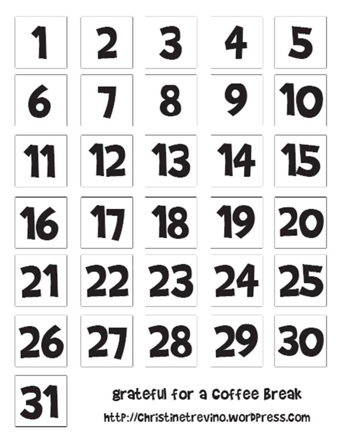 Christmas Advent Calendar Printable Numbers. I think these Christmas advent calendar printable numbers would be super cute on brown craft paper like this craft paper on trueffil983.gq can print the tree shaped calendar and mark off each day.