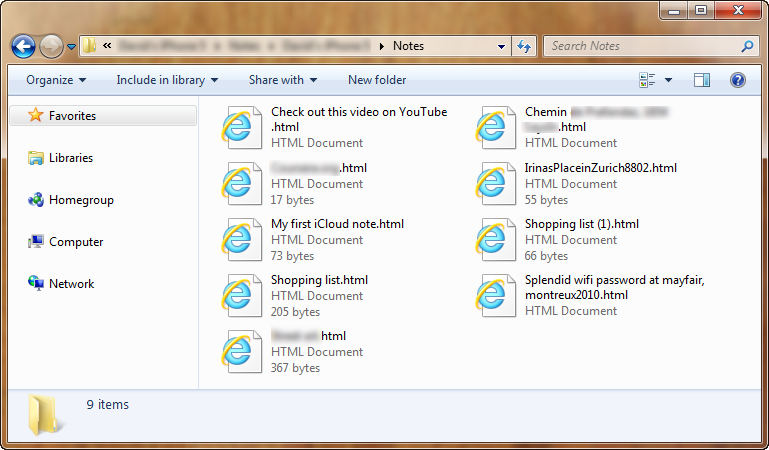 notes from icloud saved to html files on pc