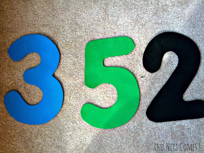 Large homemade foam numbers from And Next Comes L