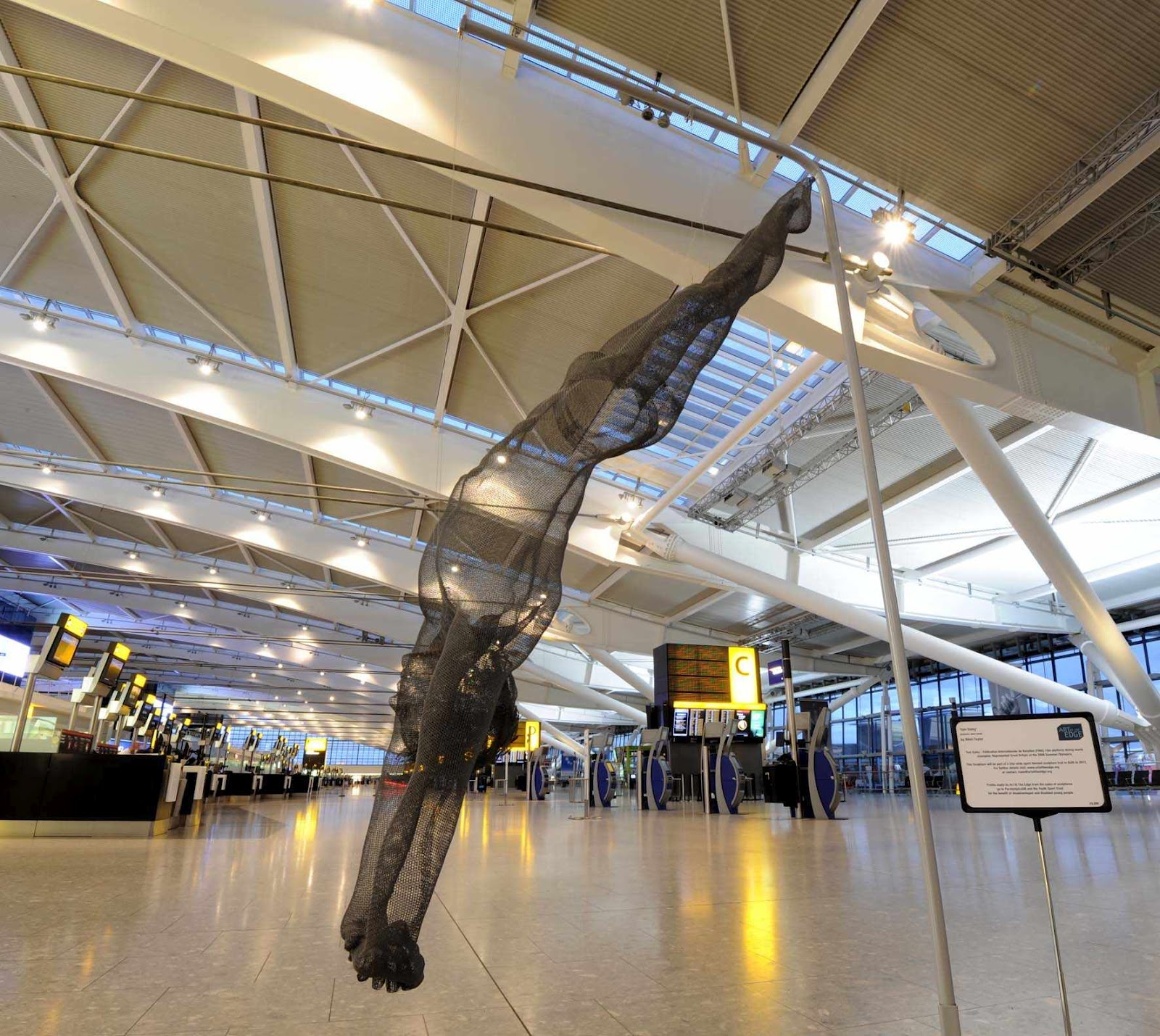 Each sculpture represents a different olympic or paralympic sports including life size wire sculptures of olympic diver tom daley and sprinter jason