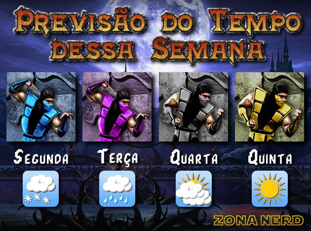 Ninjas do Mortal Kombat na previsão do tempo