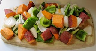 Chopped vegetables for Jamaican jerk stew