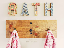 bath letters & diy towel rack