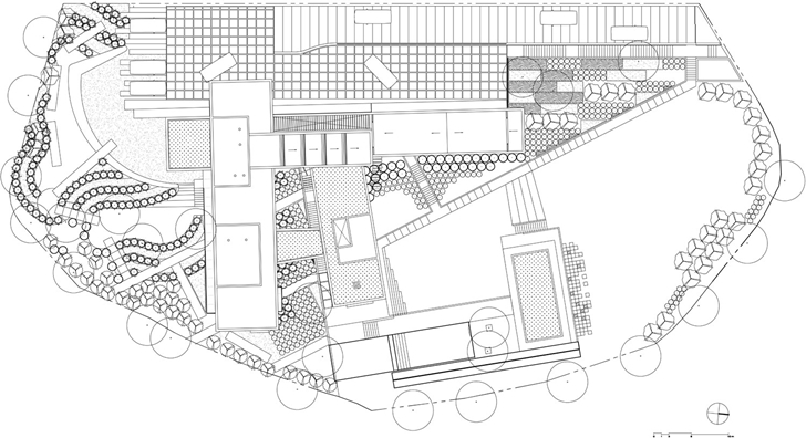 Site plan of Modern contemporary CT House in Mexico