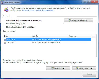 Cara Mendefragment Harddisk di Windows 7