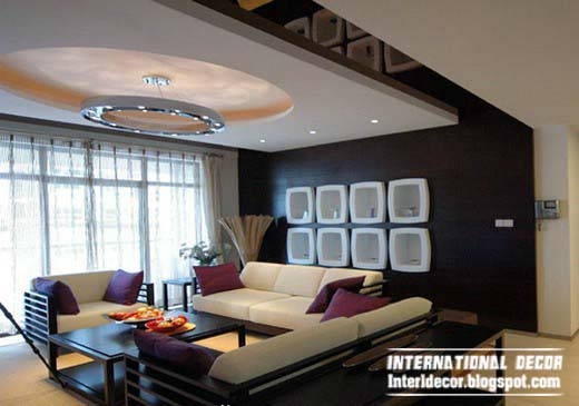 modern false ceiling design for living room interior suspended
