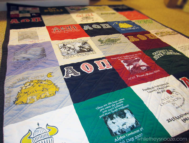 While They Snooze Fall T Shirt Quilt Tutorial