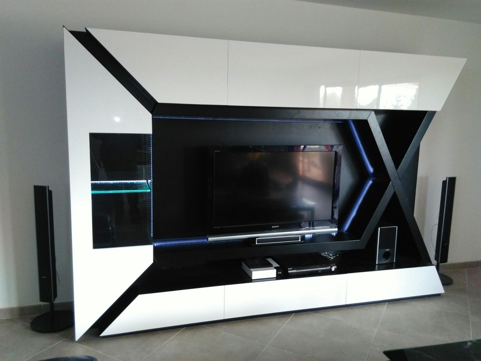 Meuble Tv Led Avec Baffle Fenrez Com Sammlung Von Design  # Meuble Tv Avec Led