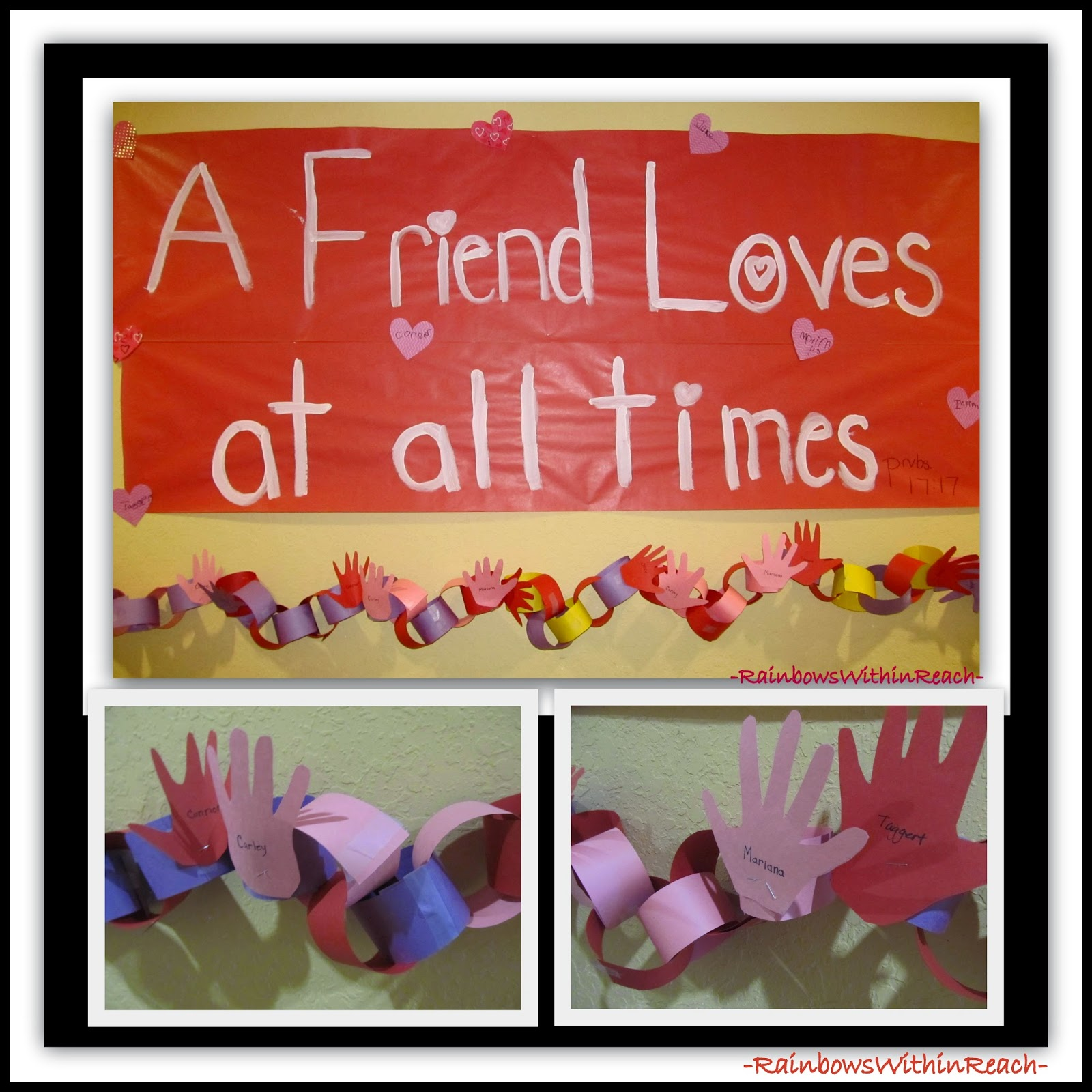 Valentine's Day Bulletin Board with Cut-Out Hand Prints via RainbowsWithinReach