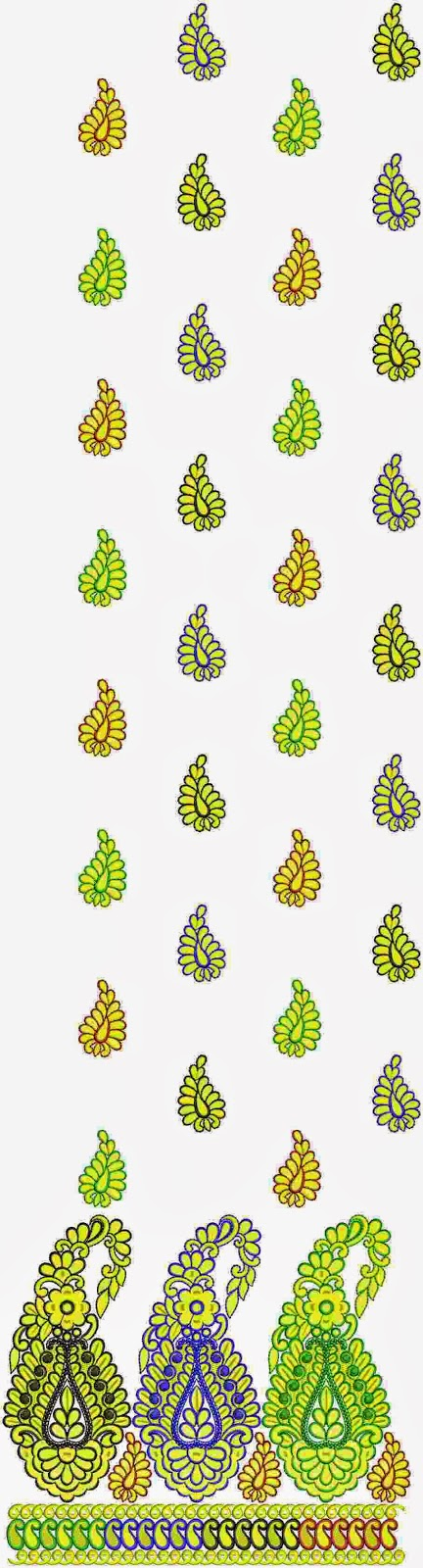 gratis paisley borduurwerk ontwerp Lawn pak
