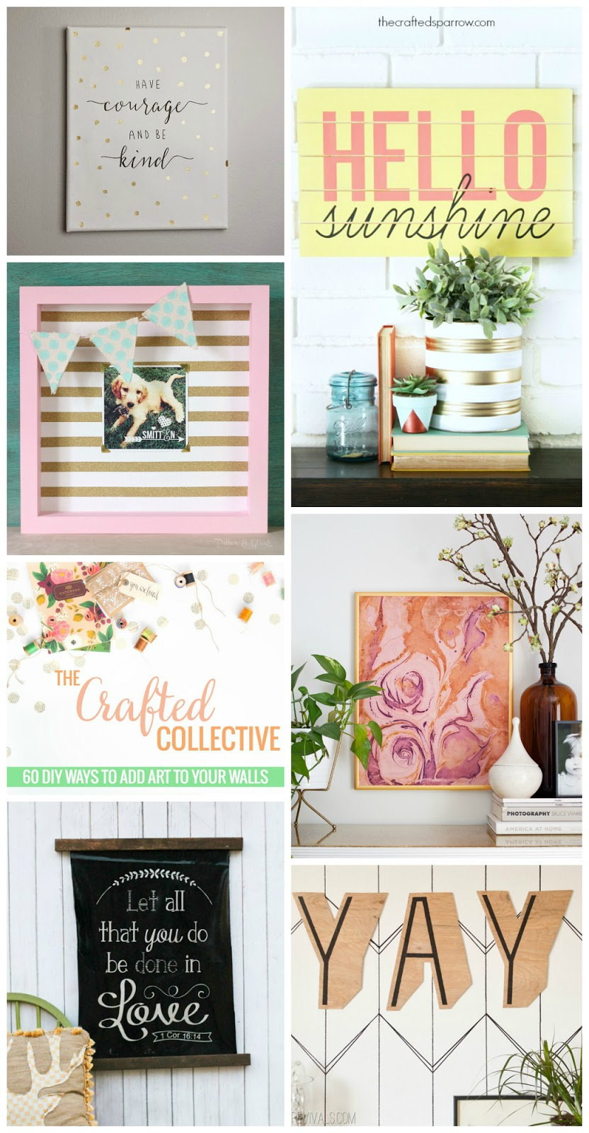 The Crafted Collective: 60 DIY Wall Art Ideas www.pitterandglink.com