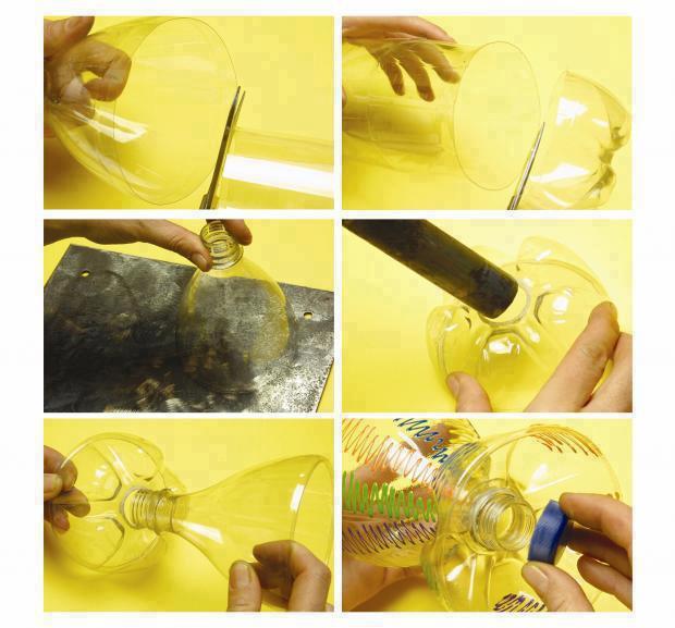 Copa para bebidas realizada con botella de Pet plástica de la bioguia