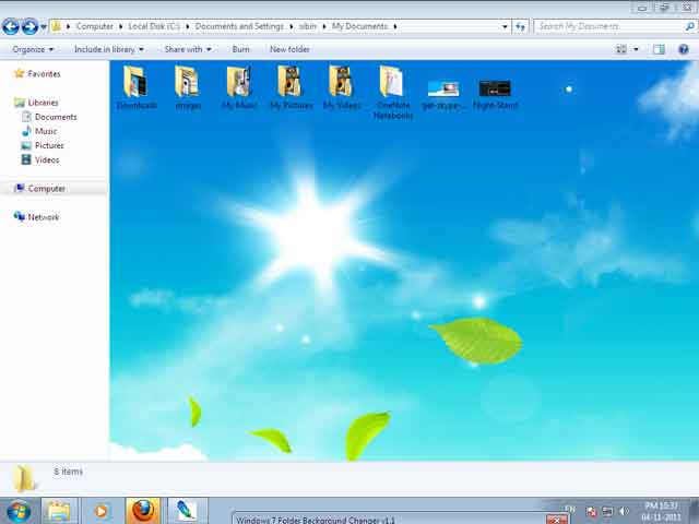 how to change windows 7 folder background 2 apps directories