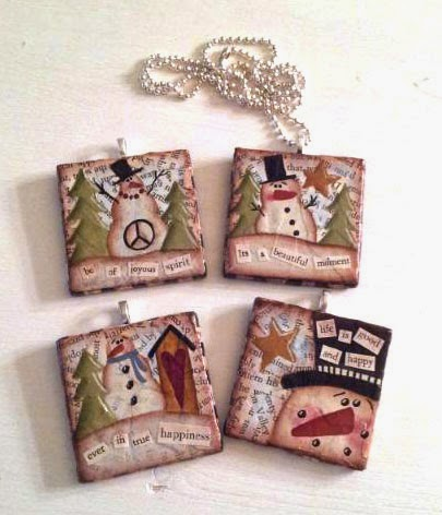 Mixed media hand-painted snowman necklaces by Sue Allemand Art, www.sueallemandart.etsy.com