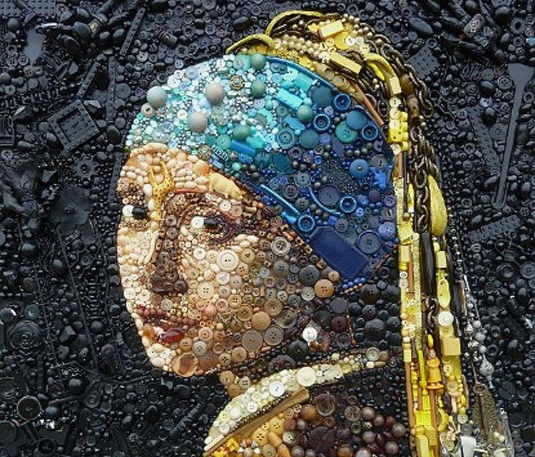 Recycled Button Art