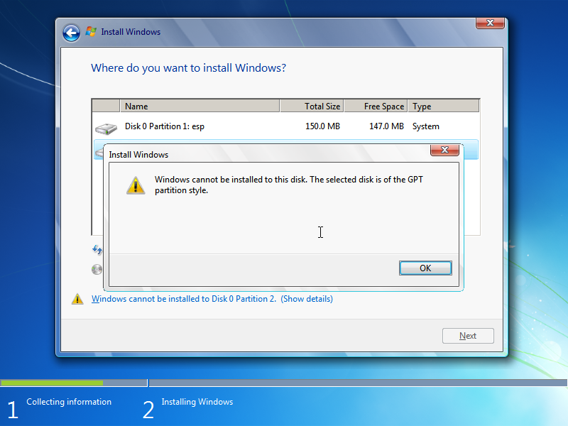Windows booted from MBR cannot be installed on GPT disk - screenshot