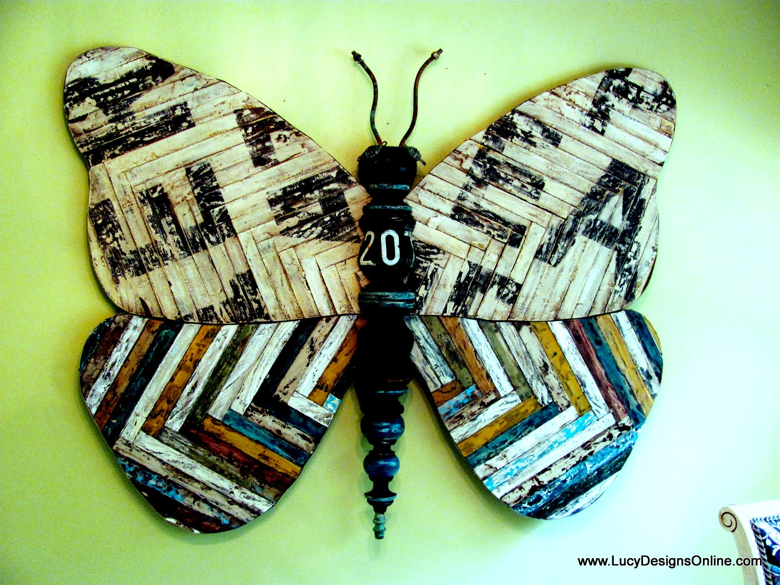 giant 5 foot butterfly art size with reclaimed wood look