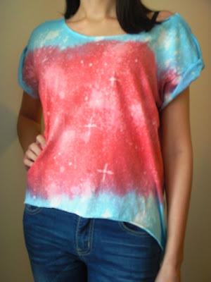 diy galaxy kosmos koszulka trendy moda ombre