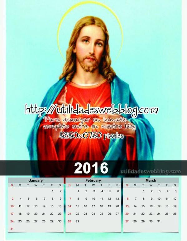 Calendario católico trimestral 2016 enero febrero marzo para imprimir del corazón de Jesús