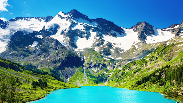 Blue Lake Mountains Scenery HD Wallpaper