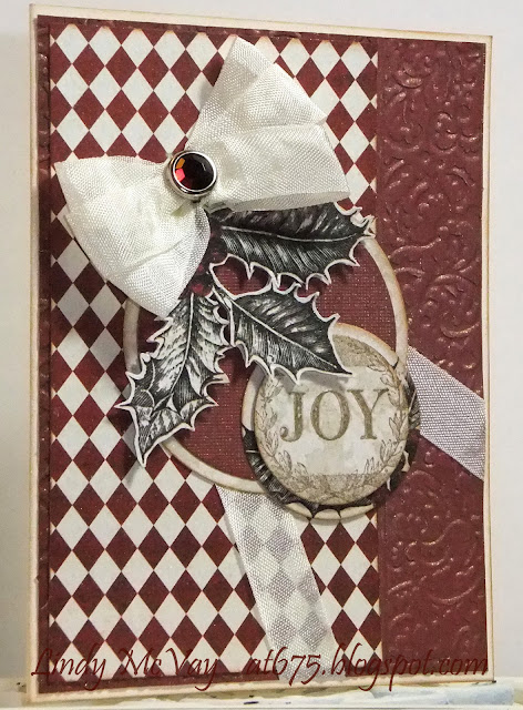 Tim Holtz Vintage Photo Distress Ink, DCWV, Teresa Collins Noel Collection, Basic Grey Aspen Stamp, Hug Snug Ribbon, Tattered Angels Glimmer Mist, Spellbinders Circle Dies, My Mind's Eye Lush Red, Cuttlebug Holly Ribbons Embossing Folder, Mojo Monday 323, Christmas Card, Handmade Card