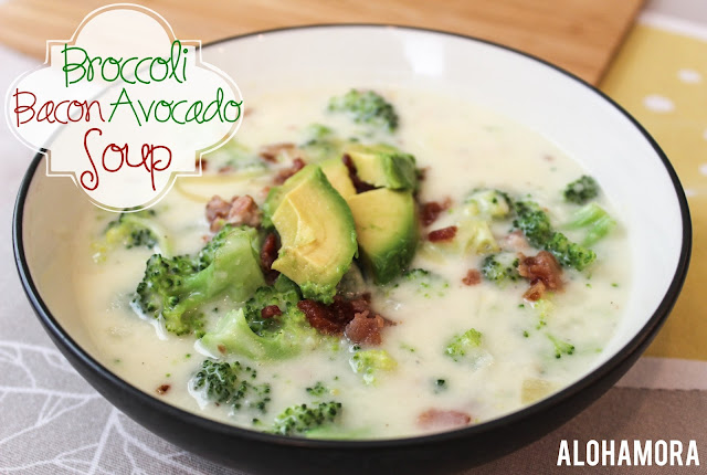 Broccoli Bacon Avocado Soup- a deliciously adaptation to the classic broccoli cheese soup.  Amazing flavor, and a quick and easy meal you can enjoy on a busy weeknight.  Alohamora Open a Book http://www.alohamoraopenabook.blogspot.com/ easy fast amazing easily gluten free with gf flour