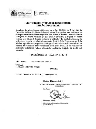 TÍTULO DE DISEÑO INDUSTRIAL N° 512.312