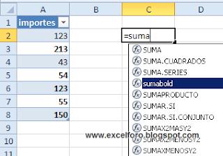 UDF para sumar valores en negrita en un rango de Excel.