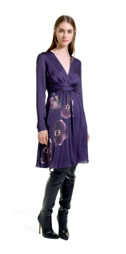 Altuzarra For Target Collection: Dress in Purple Orchid Print, Over The Knee Boots, fashion, designer, style, the purple,scarf, melanie.ps, toronto, ontario, canada