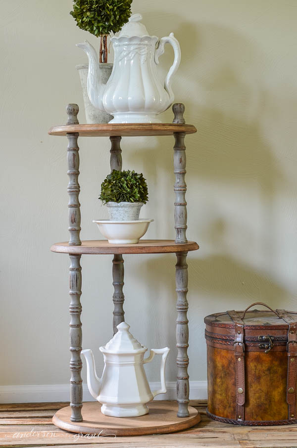 See how this basic dark stained shelf was transformed into a rustic farmhouse piece of furniture.     www.andersonandgrant.com