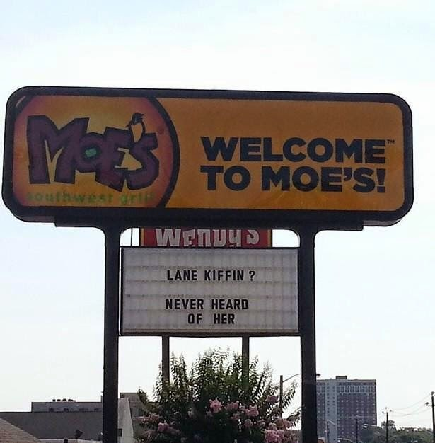 Moe's Sign in Knoxville - Lane Kiffin Never Heard of Her
