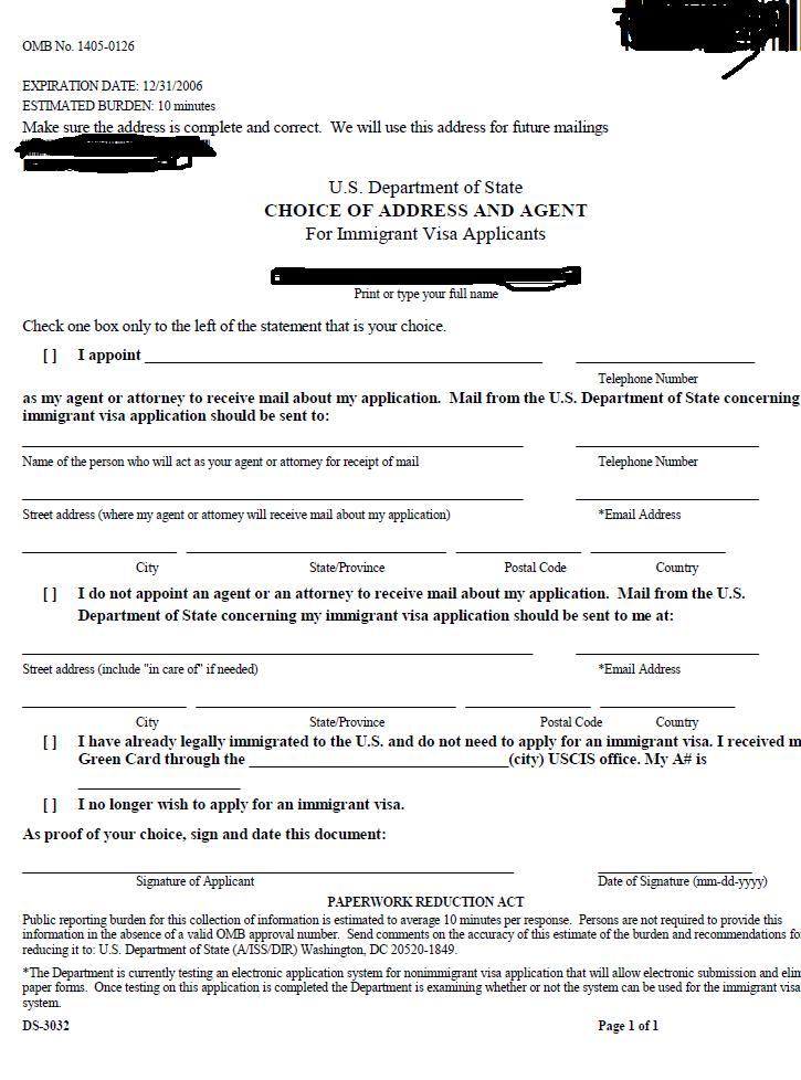 My Family's Immigration Journey: DS3032- Choice of Address and Agent